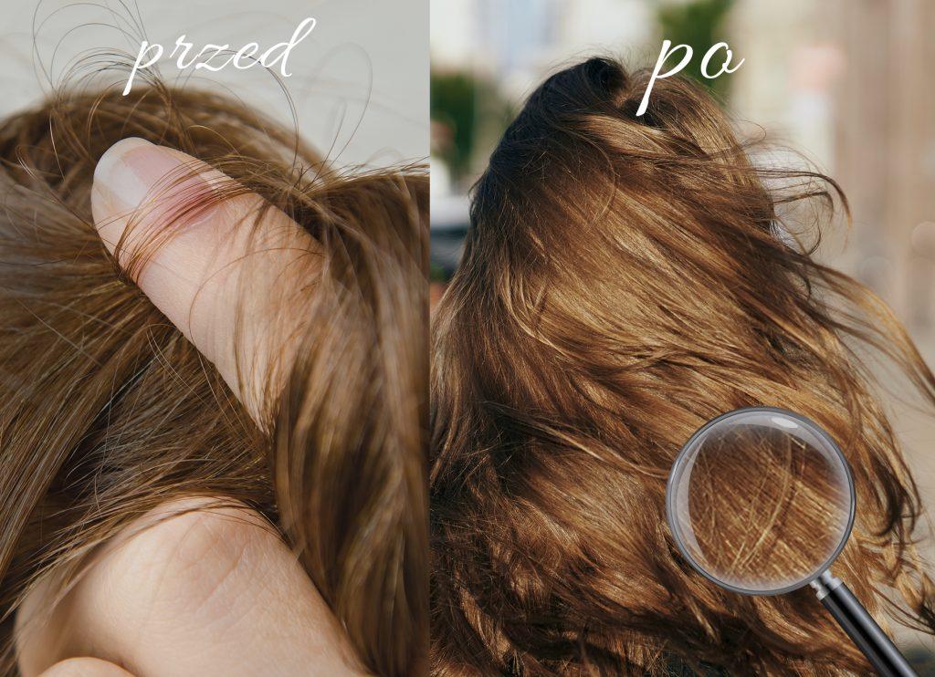 porównanie moich włosów przed i po